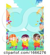 Poster, Art Print Of Kids Play Color Nature Background Illustration