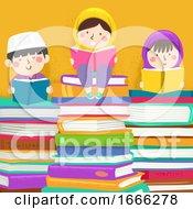 Kids Muslim Read Books Illustration