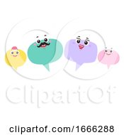 Mascot Speech Bubble Family Talk Illustration
