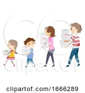 Stickman Family Carrying Containers Organizing