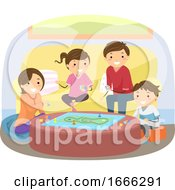 Poster, Art Print Of Stickman Family Play Board Game Illustration