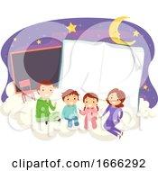 Stickman Family Reading Night School Illustration