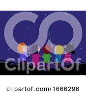 Stickman Kids Laser Point Stars Illustration