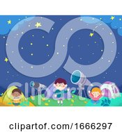 Kids Tent Astronomy Camp Background Illustration