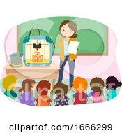 Stickman Kids Teacher 3D Printer Illustration
