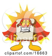 Slice Of White Bread Food Mascot Cartoon Character Wearing A Super Hero Cape And Mask
