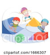 Kids Skateboarding Park Shapes Illustration