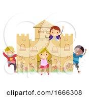Stickman Kids Cardboard Castle Play Illustration