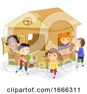 Poster, Art Print Of Stickman Kids Girls Cardboard House Play