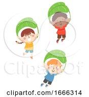Kids Jump Leaf Parachute Illustration