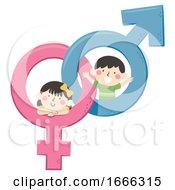 Poster, Art Print Of Kids Male Female Symbols Illustration