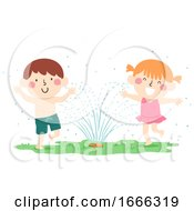 Kids Play Garden Sprinklers Illustration