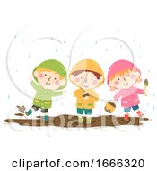 Poster, Art Print Of Kids Rainy Day Mud Play Illustration