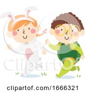 Kids Run Bunny Turtle Costume Illustration by BNP Design Studio