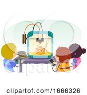 Stickman Kids Printer Play 3D Illustration