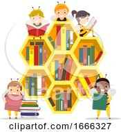 Stickman Kids Bee Hive Book Shelf Illustration