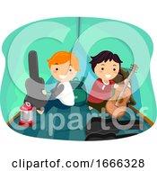 Stickman Kids Boys Music Camp Tent Illustration