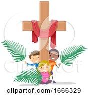 Poster, Art Print Of Stickman Kids Cross Holy Week Illustration