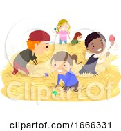 Poster, Art Print Of Stickman Kids Easter Egg Hunt Australia