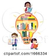 Stickman Kids Light Bulb Book Shelf Illustration
