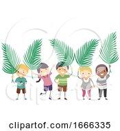 Poster, Art Print Of Stickman Kids Palm Sunday Leaves Illustration