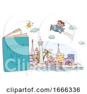 Stickman Kids Passport Travel Trip Illustration