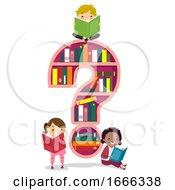 Stickman Kids Question Mark Shelf Illustration