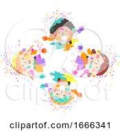 Kids Holi Powder Top View Illustration