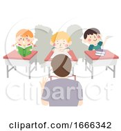 Kids Not Paying Attention To Teacher Illustration