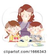Poster, Art Print Of Kids Parent Carved Butter Lamb Easter Illustration