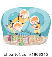Kids Scuba Explore Quadrat Method Illustration