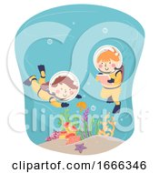 Kids Scuba Explore Underwater Notes Illustration