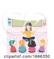 Kids Teacher Story Speech Bubble Sitting Down