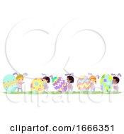 Poster, Art Print Of Stickman Kids Bunny Easter Eggs Walk Border