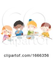 Kids Divide Pizza Equal Share Illustration