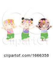 Kids Girls Hawaiian Dress Illustration
