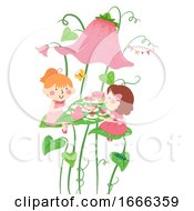 Kids Girls Tea Party Flower Illustration