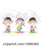 Kids Indian Holi Powder Illustration