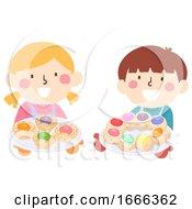Poster, Art Print Of Kids Italian Easter Braided Egg Bread Bake