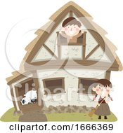 Kids Peasant House Cow Illustration