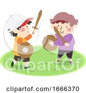 Kids Play Wooden Sword Shield Boys Illustration