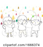 Poster, Art Print Of Kids Catch Colorful Droplets Illustration