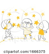 Kids Catch Stars Illustration