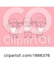Poster, Art Print Of Kids Child Raising Full Of Love Illustration