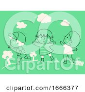 Poster, Art Print Of Kids Child Raising Play Outside Nature Outdoors