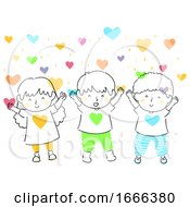 Poster, Art Print Of Kids Hearts Love Shower Illustration