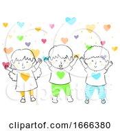 Kids Hearts Love Shower Illustration