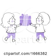 Kids Gift Give Illustration