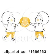 Poster, Art Print Of Kids Give Happiness Illustration