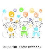 Poster, Art Print Of Kids Shower Happiness Illustration